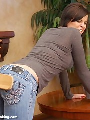 Bare bottom bath-brush spanking for Allaura Shane involving blistering trammel finale