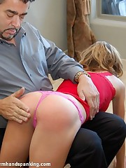 Gorgeous college girl Jennifer Torrance presents her bubble butt for a spanking