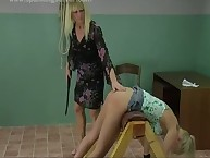 Blonde's ass spanked hard