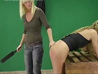 Filthy soubrette gets pitiless spanks on her bottom
