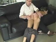 Shame girl getting rough over the knee spanking