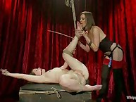 19 year old lesbo virgin is bound, whipped, made to adoration feet and strap-on drilled to orgasm by pro domme Madeline