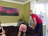 Dust-ball spanked intense four adult women.