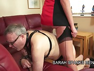 Floss Sarah spanked raw a submissive grey man.