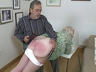 Grandma with an increment of son acquiring spanked otk wide of daddy.