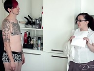 Fatty in glasse spanked boy