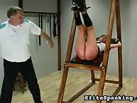 Wanton puss gets cruel spanks on her buttocks