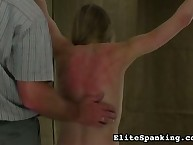 Tender blonde with red back after whipping
