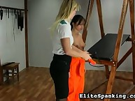 Prisoned brunette tied and flogged