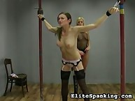 Strict blond whipped juvenile bitch