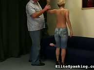Nerdy blonde undressed for whipping
