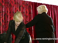 Perverted granny spanked mature blonde