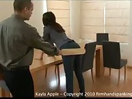 Kayla Apple gets 12 hard licks with the board for bullying girls in Private School