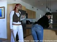 Allaura Shane was bent over spanked in tight jeans