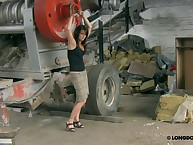 Garage style whipping for brunette