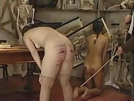 Naughty damsel Strips again Receives wild Caning