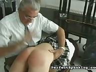 Naughty schoolgirls bearing OTK spanking