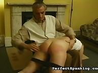 Teen slut was otk spanked by stepfather