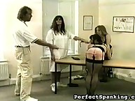 Wanton lady has ruthless spanks on her rear