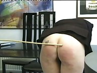 Mature golden-haired got ass caned
