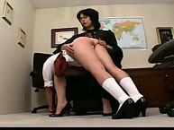 OTK spanking from lesbian teacher