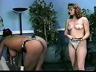 Interracial lesbians practicing hot spanking