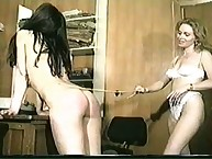 Blonde caned her brunet slave