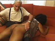 Black and white OTK spanking