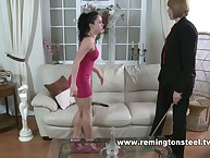Teen lesbo caned by mature
