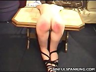 Filthy wench has hellish spanks on her tush