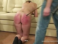 Disobedient brunette with sexy ass was caned