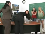 Bad Brunette Bent Over Desk and Brutally Paddled