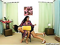 Strict Mother spanked a miniature girl