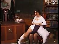 Lesbian babe was OTK spanking