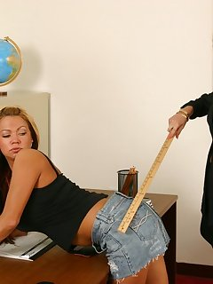 20 of Blond teacher catches and spanks hot girl